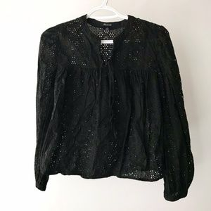 Madewell Black Eyelet Lace Blouse